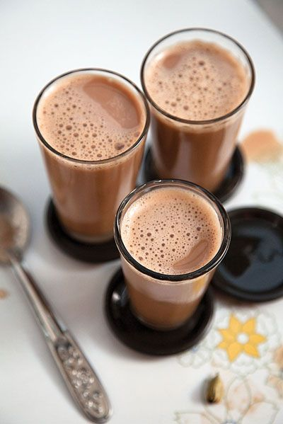 Spiced Tea (Masala Chai). 1⁄2 cup evaporated milk 5 tsp. sugar 6 black tea bags 5 pods green cardamom, crushed      1. Bring milk, sugar, tea, cardamom, and 4 cups water to a boil in a 2-qt. saucepan. Remove from heat; let steep for 5 minutes. Strain and serve hot.   MAKES 4 1⁄2 CUP