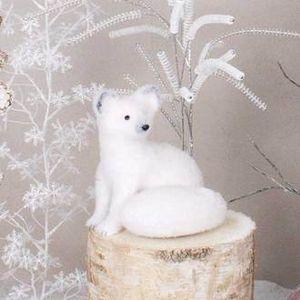 Renard polaire blanc décoration noel en polystyrène H.20cm Faune