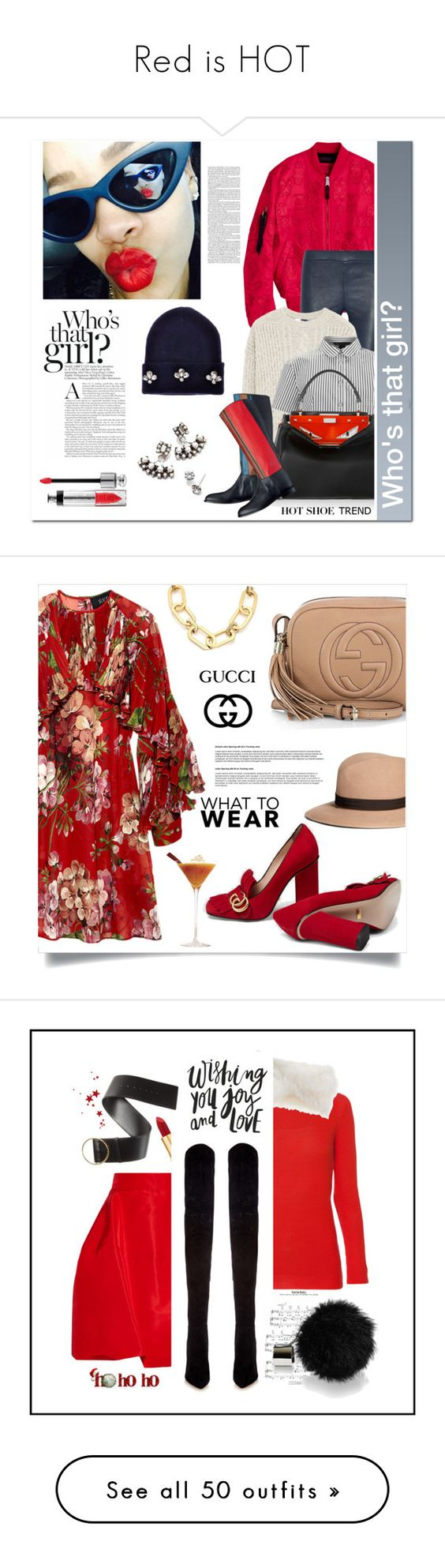 """Red is HOT"" by erindream ❤ liked on Polyvore featuring Retrò, Current/Elliott, MANGO, Marc by Marc Jacobs, Fendi, DANNIJO, Gucci, Michael Kors, Brooks Brothers and Les Copains"