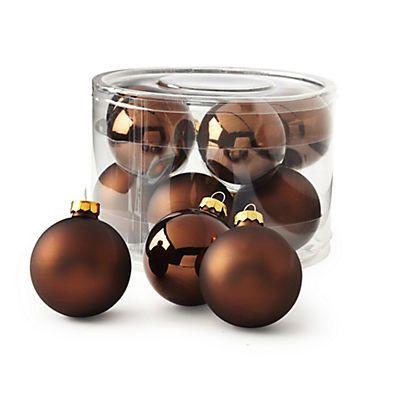 Nature essentielle Lot de 10 boules en verre marron glacé mates et brillantes