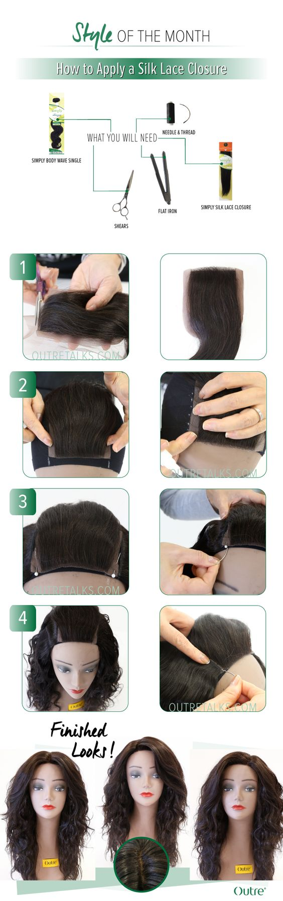 how to apply a silk lace closure