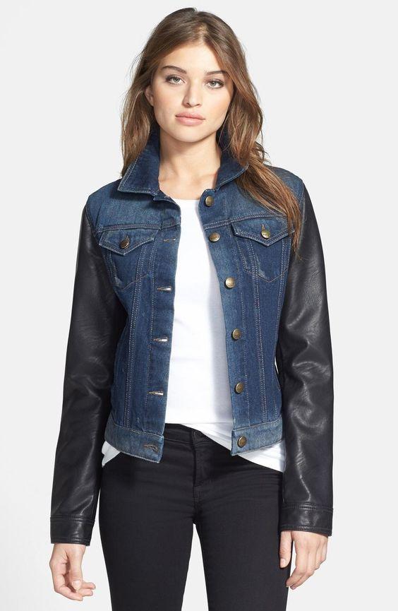 Laundry by Shelli Segal Blue Faux Leather Denim Jacket Coat, Taille Medium.