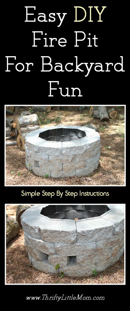 Easy diy inexpensive firepit for backyard fun backyards for Cheap easy fire pit ideas