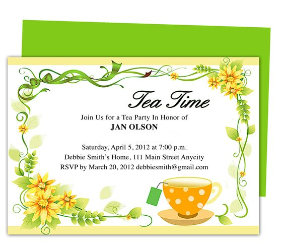 freshness tea party invitation party templates printable diy edit in word publisher apple