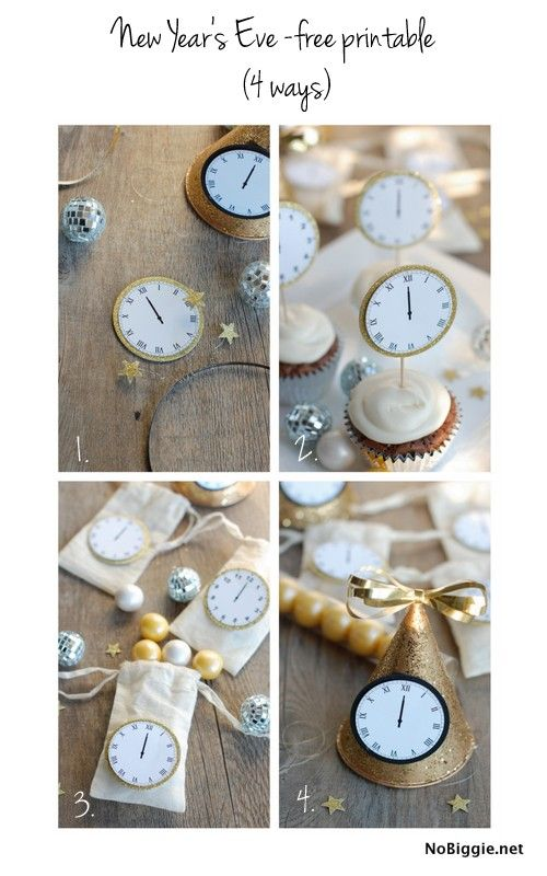 Celebrate New Year's Eve with this free printable - midnight clocks - via NoBiggie.net