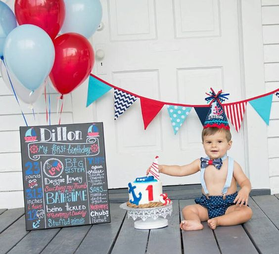Creative Converting 1st Birthday Boy Cake Topper Blue: Nautical Cake Smash, Nautical Cake And Cake Smash On Pinterest