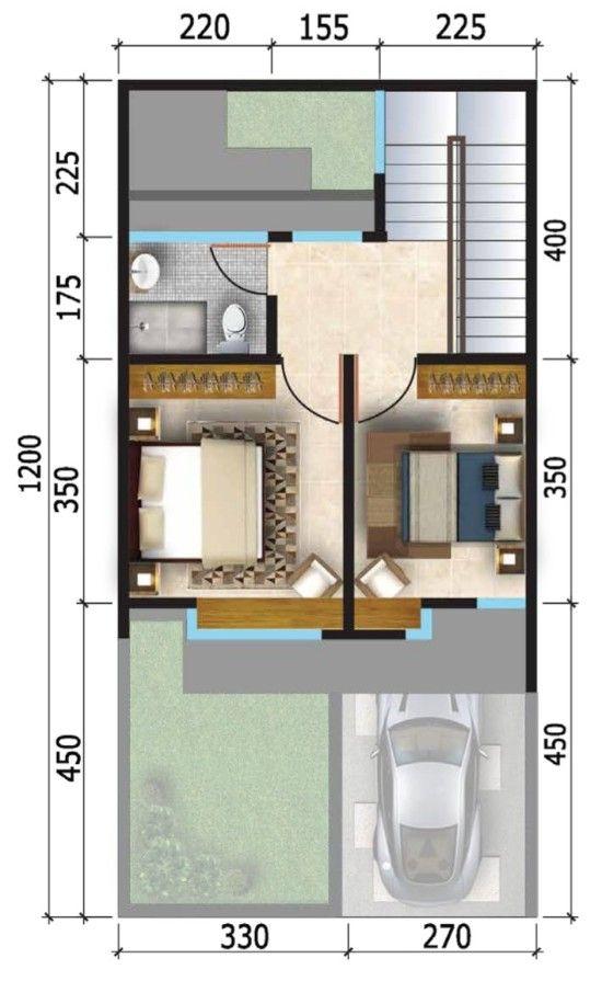 Rumah Minimalis 6x12 Tampak Depan : rumah, minimalis, tampak, depan, Denah, Rumah, Minimalis, Terbaru