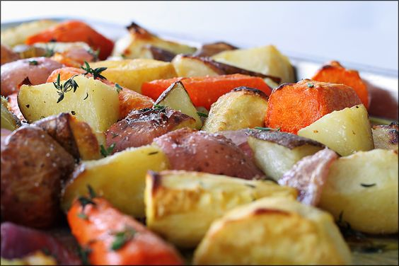 Roasted Root Vegetables with Truffle Oil & Thyme