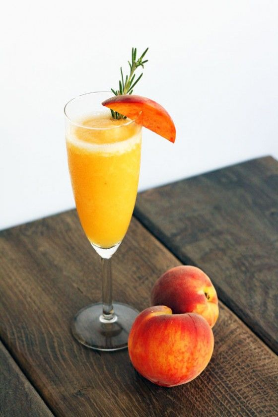 rosemary infused frozen peach bellini