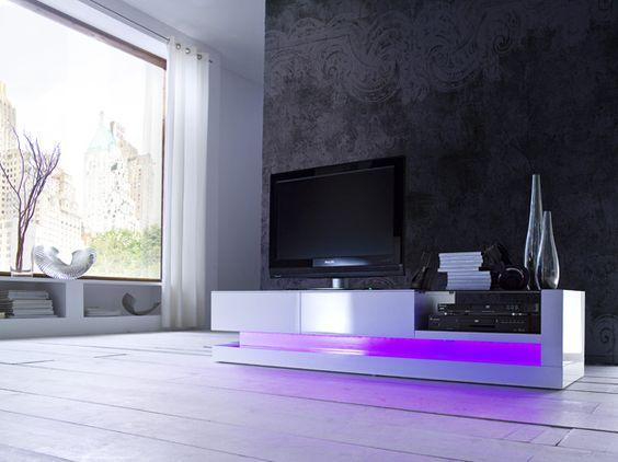 TV - Lowboard Frieda inklusive RGB-LED Beleuchtung mit Fernbedienung Hochglanz weiß 1 x Lowboard TV Kommode /  Media-TV-Element mit 2Schubkästen 1 Receiverfach...