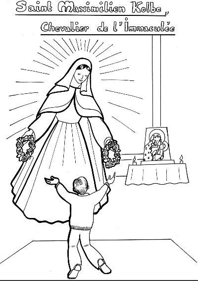 The Blessed Virgin Mary appears to St. Maximilian Kolbe offering him his choice of two crowns.  He chose both!  Coloriage : Saint Maximilien Kolbe et la Vierge Marie   Avec Marie, les enfants du monde prient pour la paix et les vocations