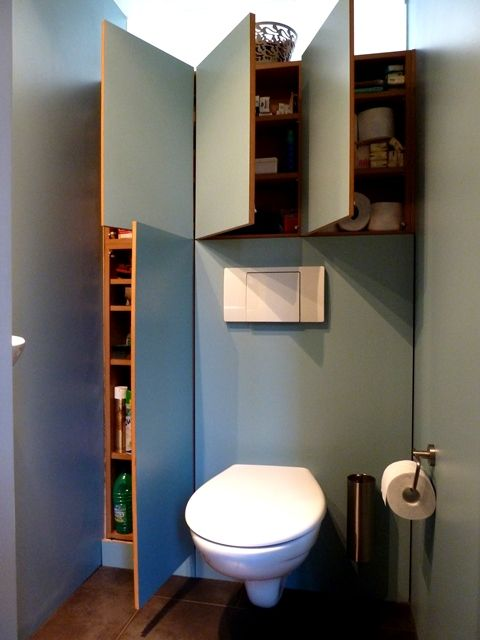 Toilettes rencontr and rangement cach on pinterest - Amenagement wc suspendu ...
