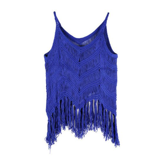 Blue Boho Tassels Tank ($27) ❤ liked on Polyvore featuring tops, blusas, crop tops, shirts, crop tank top, blue top, boho tank, boho crop top and bohemian shirts