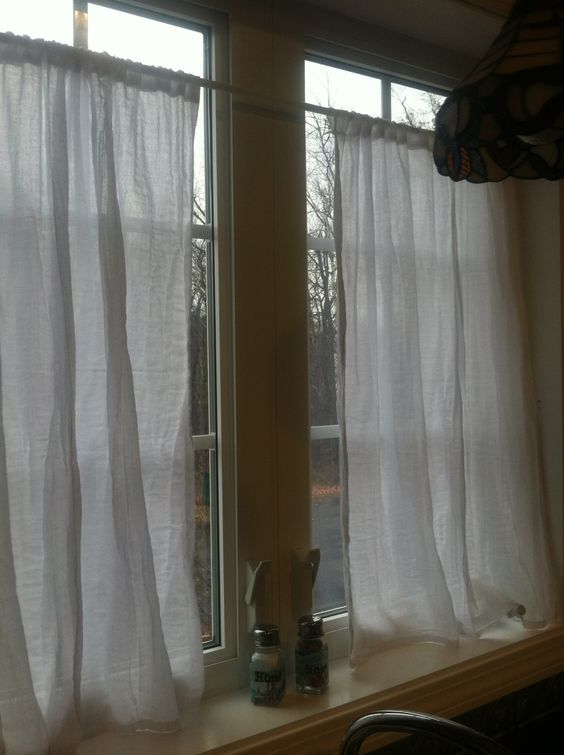 I made some xtra long cafe curtains out of a flour sack towel, I ...