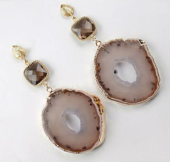 Geode Druzy Earrings Smokey Quartz Bezel Set by DoolittleJewelry, $155.00