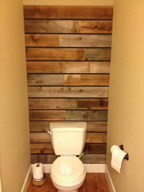 17 Rustic Bathroom Ideas You Can Make With Pallet Wood Pallet Wall Bathroom Pallet Wood Shelves Pallet Bathroom