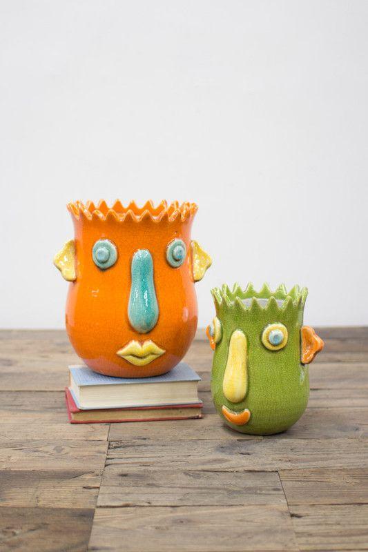 Set Of 2 Funky Ceramic Face Planters Multi Colored