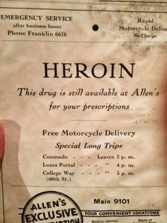 Vintage newspaper ad for heroin... still available: