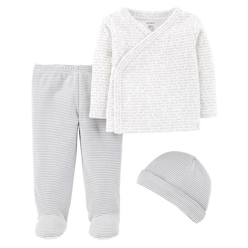 Baby Girls Footed Pants /& Kimono Top Outfit Long Sleeve Layette Set