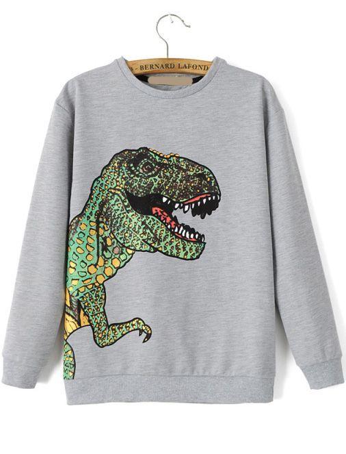 sweat-shirt décontracté imprimé dinosaures -gris