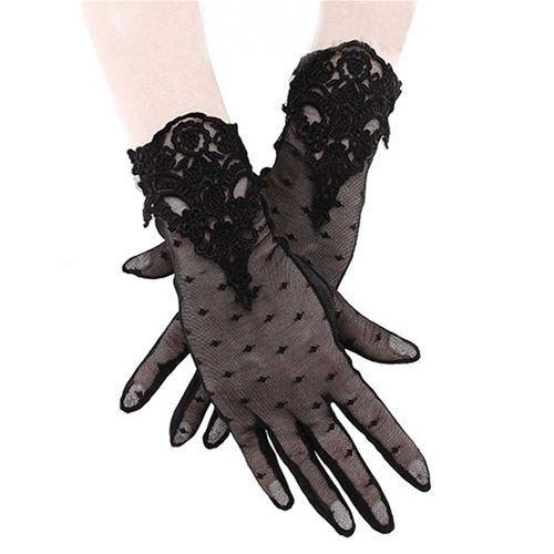 Guipure kanten handschoenen zwart – Gothic Metal