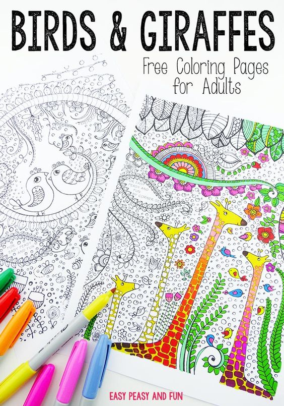 Birds and Giraffes Coloring Pages for Grown Ups Adult