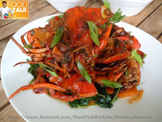 Singaporean Chili crab   Please follow the page for recipes..  http://www.facebook.com/FoodTalkWithChefAndrewPaderes