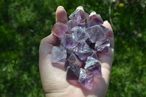 This is a listing for 3 pcs of Purple Fluorite octahedron crystal stones. You…