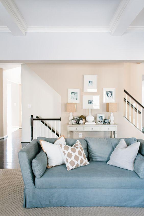 beach colors contemporary light blue sofa sand color walls interior designer jennifer