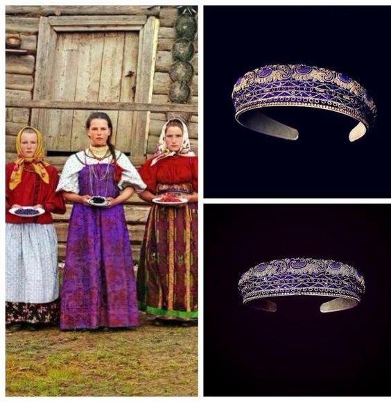 Купить Ободок Анфиса 2 - тёмно-фиолетовый, авторская ручная работа, вышивка, дизайнерские украшения