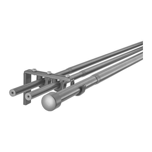 Racka Hugad Triple Curtain Rod Combination Silver Color 82 5 8