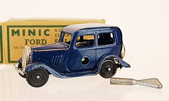 1950's MINIC Ford Saloon by Lines Bros., Made in England, key wind-up