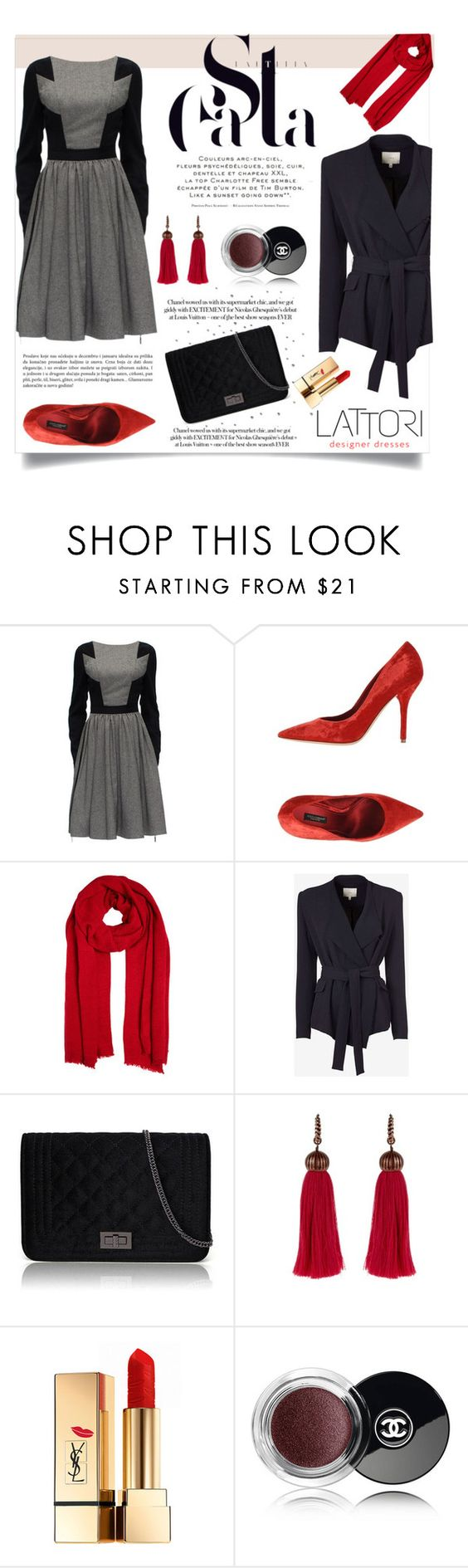 """Lattori #24"" by ana-anaaaa ❤ liked on Polyvore featuring Lattori, Dolce&Gabbana, IRO, Lanvin, Yves Saint Laurent, Chanel and polyvoreeditorial"