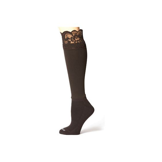 Women's Bootights Lacie Darby 3712 - Chocolate/Lace Top Boot Socks ($28) ❤ liked on Polyvore featuring intimates, hosiery, socks, lacy socks, wicking socks, cushioned socks, ankle socks and moisture wicking socks