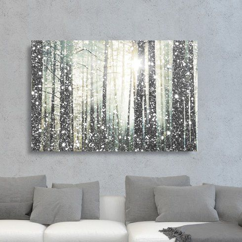 Magical Forest Silver Graphic Art Print On Canvas Glitter Wall Art Nature Wall Decor Nature Art Prints
