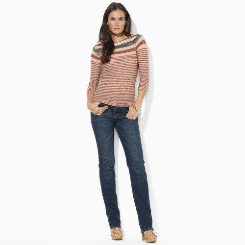 $119 Ralph Lauren Jeans Co Red Tan Striped Linen Sweater Top