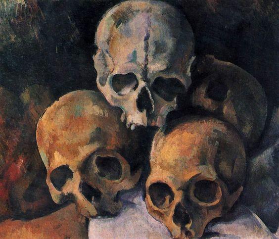 Pyramide de crâne, Paul cézanne.  Vanité, et allégorie du XVII des modernes !  Traité de façon dépouillé, composition pyramidale . Du rôle de la couleur > intensité de la touche.