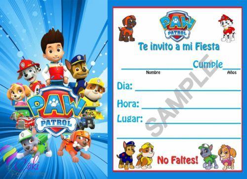 Detalles Acerca De Invitaciones Pata Patrulla Español Nino Y