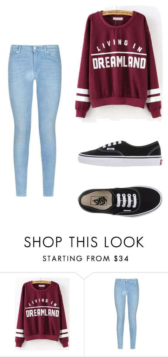 """""""Lazy day"""" by yolanti ❤ liked on Polyvore featuring 7 For All Mankind and Vans"""