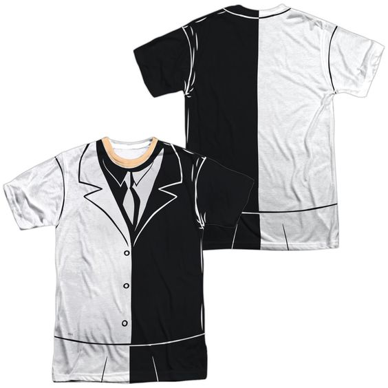 Batman Two Face Uniform White Poly T-Shirt (Front & Back Print)