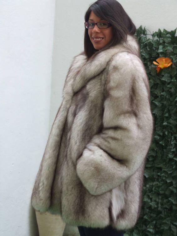 blue fox fur jacket