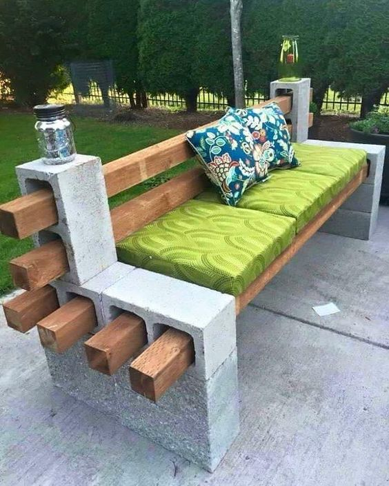 wood and concrete block seat