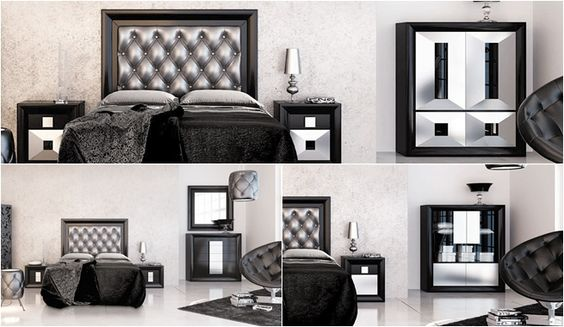 Decorar un dormitorio en negro y plateado