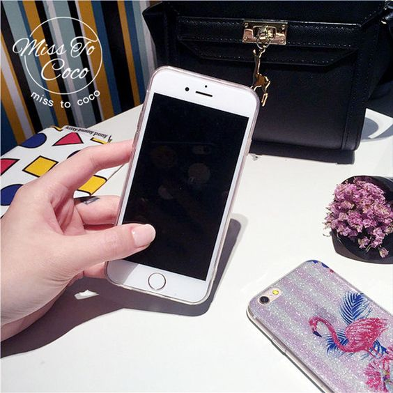 Modisch bling Pink Iphone6/6s/6PLUS/7/7PLUS Handyhülle mit Flamingo Muster