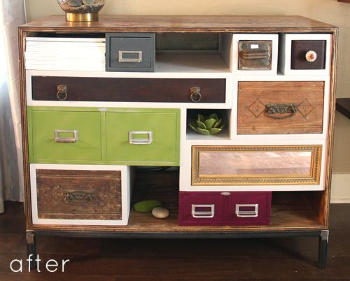 FUNKY and I love it!! Genius. Repurposed drawers and files.