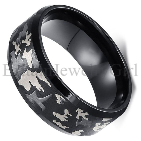 8MM Camouflage Camo Design Band Stainless Steel Men's Wedding Ring Size 6-14…