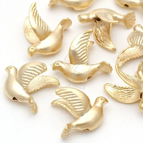 AC135MG / 4 Pcs  Flying Dove Beads Matte Gold Plated by beadsmaker, $3.90