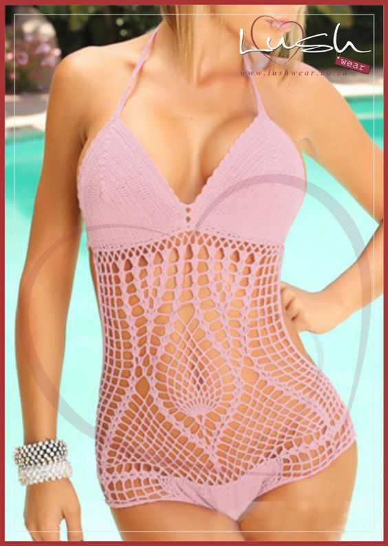 Pink crochet swimwear available from Lush #lushwear #crochetswimwear #swimwear #crochet #swimsuit #southafrica