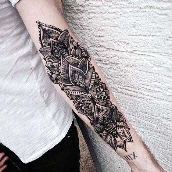 Tattoo For Inner Upper Arm Under Lillies With Colors