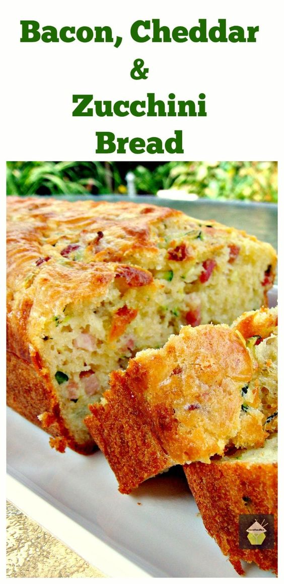 Bacon, Cheddar Zucchini Loaf. A wonderful light and fluffy bread with great flavors. Serve warm or cold, it's delicious either way! Great for brunches, lunch boxes,parties with soup and so many other ways too!  Freezer friendly with NO LOSS of quality   Lovefoodies.com